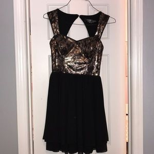 Guess black and gold homecoming dress